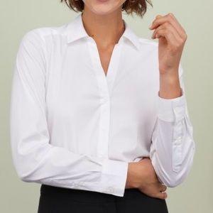 Ladies white V-neck button down shirt